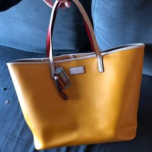 Bright Leather Coach Tote Bag